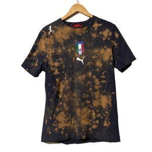 """Puma Custom Bleach Dye """"forza Azzurri"""" Tee size L"""